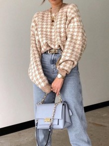 Khaki Houndstooth Print Round Neck Long Sleeve Fashion Sweater Pullover