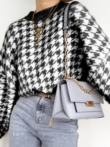 Black Houndstooth Print Round Neck Long Sleeve Fashion Sweater Pullover