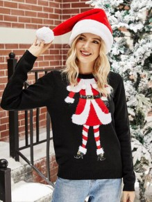 Black Patchwork Embroidery Christmas Round Neck Fashion Sweater Pullover