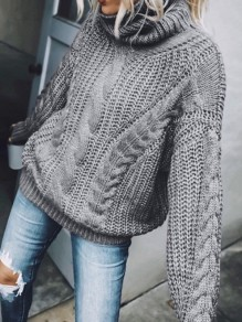 Grey Solid Color High Neck Fashion Sweaters Pullover