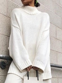 White Solid Color High Neck Honey Girl Sweaters Pullover