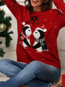 Red Cartoon Print Oversize Round Neck Cute Pullover Sweater