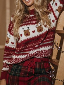 Red Cartoon Print Oversize Round Neck Daily Pullover Sweater