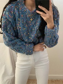 Blue Floral Oversize Round Neck Honey Girl Pullover Sweater