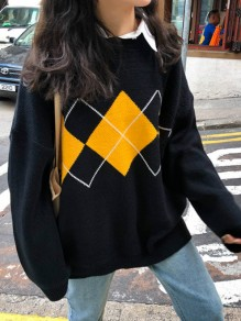 Black Color Block Print Round Neck Honey Girl Pullover Sweater