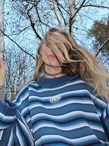 Blue Striped Oversize Round Neck Honey Girl Pullover Sweater