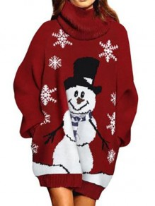 Red Cartoon Lantern Sleeve High Neck Going out Pullover Sweater