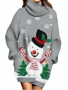 Grey Cartoon Lantern Sleeve High Neck Going out Pullover Sweater