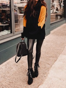 Yellow Patchwork Round Neck Going out Pullover Sweater
