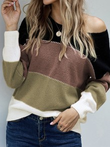 Black Patchwork Round Neck Honey Girl Pullover Sweater