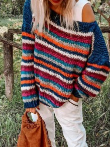 Blue Rainbow Striped One Shoulder Casual Pullover Sweater