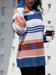 Blue Striped Print Round Neck Honey Girl Pullover Sweater