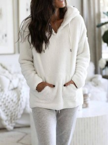 White Pockets Fuzzy Hooded Tracksuit Pajama Pullover Sweatshirts