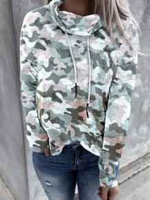 White Camouflage Drawstring Cowl Neck Casual Pullover Sweatshirt