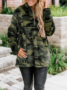 Army Green Camouflage Zipper Band Collar Christmas Fuzzy Teddy Pullover Sweatshirt