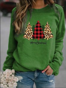Green Christmas Tree Print Long Sleeve Fashion Sweatshirt