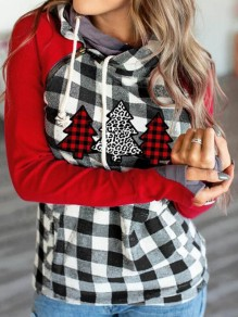 Red-Black Plaid Pockets Cowl Neck Casual Pullover Sweatshirt