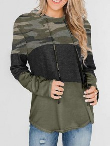 Army Green Camouflage Print Irregular Hooded Pullover Sweatshirt
