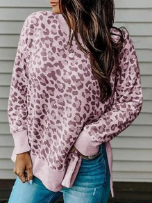 Pink Leopard Print Irregular High-low Pullover Sweatshirt