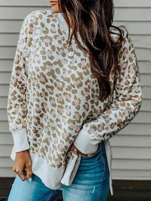 Apricot Leopard Print Irregular High-low Pullover Sweatshirt