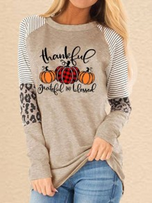 Khaki Leopard Striped Halloween Pumpkin Round Neck Sweatshirt