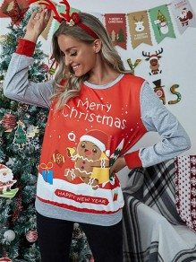 Red Floral Patchwork Doll Christmas Round Neck Long Sleeve Fashion Sweatshirt