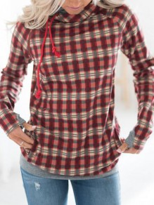 Red-Black Plaid Flannel Pockets Cowl Neck Christmas Hooded Pullover Sweatshirt