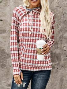 Red Plaid Pockets Side Zipper Cowl Neck Christmas Hooded Pullover Sweatshirt