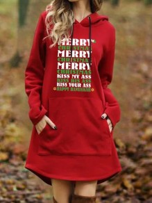 Red Monogram Print Pockets Hooded Plus Size Casual Pullover Sweatshirt