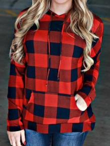 Red-Black Plaid Pockets Drawstring Christmas Plus Size Casual Pullover Sweatshirt