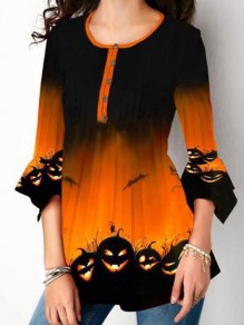 Orange-Black Cartoon Pumpkin Print Single Breasted 3/4 Sleeve Halloween T-Shirt