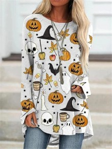 White Halloween Pumpkin Round Neck Long Sleeve Oversize Casual T-Shirt