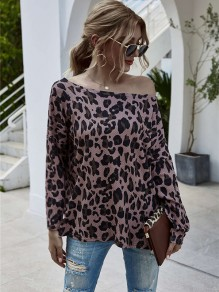 Yellow Pink Leopard One-shoulder Long Sleeve Fashion T-Shirt