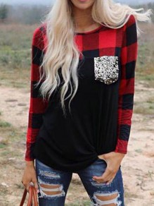 Red-Black Plaid Sequin Pockets Long Sleeve Flannel Christmas T-shirt