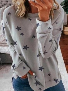 Grey Floral Print Round Neck Fashion T-Shirt