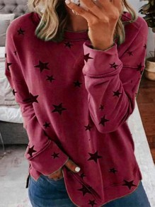 Red Floral Print Round Neck Fashion T-Shirt