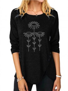 Black Flowers Buttons Print Round Neck Fashion T-Shirt