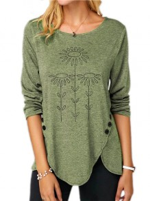 Green Flowers Buttons Print Round Neck Fashion T-Shirt