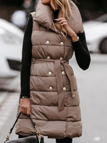 Khaki Solid Color Buttons Sleeveless?Long Vest Outerwear
