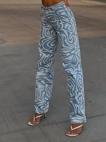 Blue Floral Pockets High Waisted Fashion Long Jeans