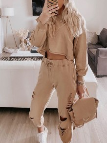Khaki Solid Color Two Piece Ripped Destroyed Sports Long Jumpsuit