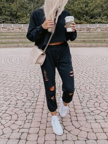 Black Solid Color Two Piece Ripped Destroyed Sports Long Jumpsuit