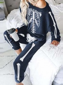 Sapphire Blue Skull Halloween One-shoulder Two Piece Pajama Long Jumpsuit