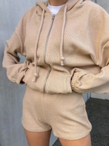 Khaki Zipper Two Piece Hooded Long Sleeve Fashion Jumpsuit
