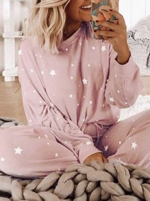 Pink Floral Star Lounge Set Round Neck Long Sleeve Casual Jumpsuit