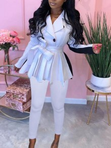 White-Black Patchwork Double Breasted Sashes Peplum Turndown Collar Two Piece Elegant Long Jumpsuit
