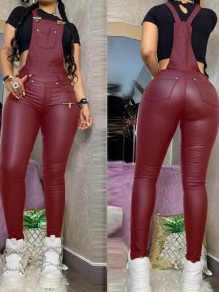 Red Pockets Pu Leather High Waisted One Piece Overall Long Jumpsuit