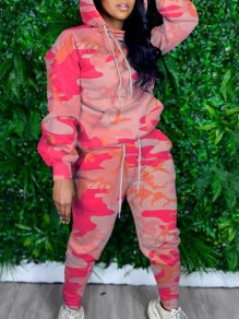 Pink Camouflage Print Pockets Hooded Two Piece Casual Long Jumpsuit