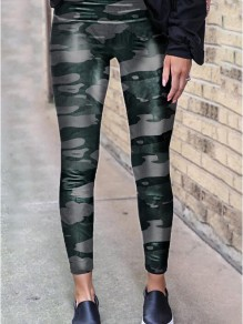 Army Green Leopard Print High Waisted Skinny Long Legging