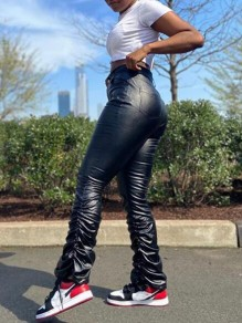 Black Pleated High Waisted Ruched Pu Leather Plus Size Long Pants